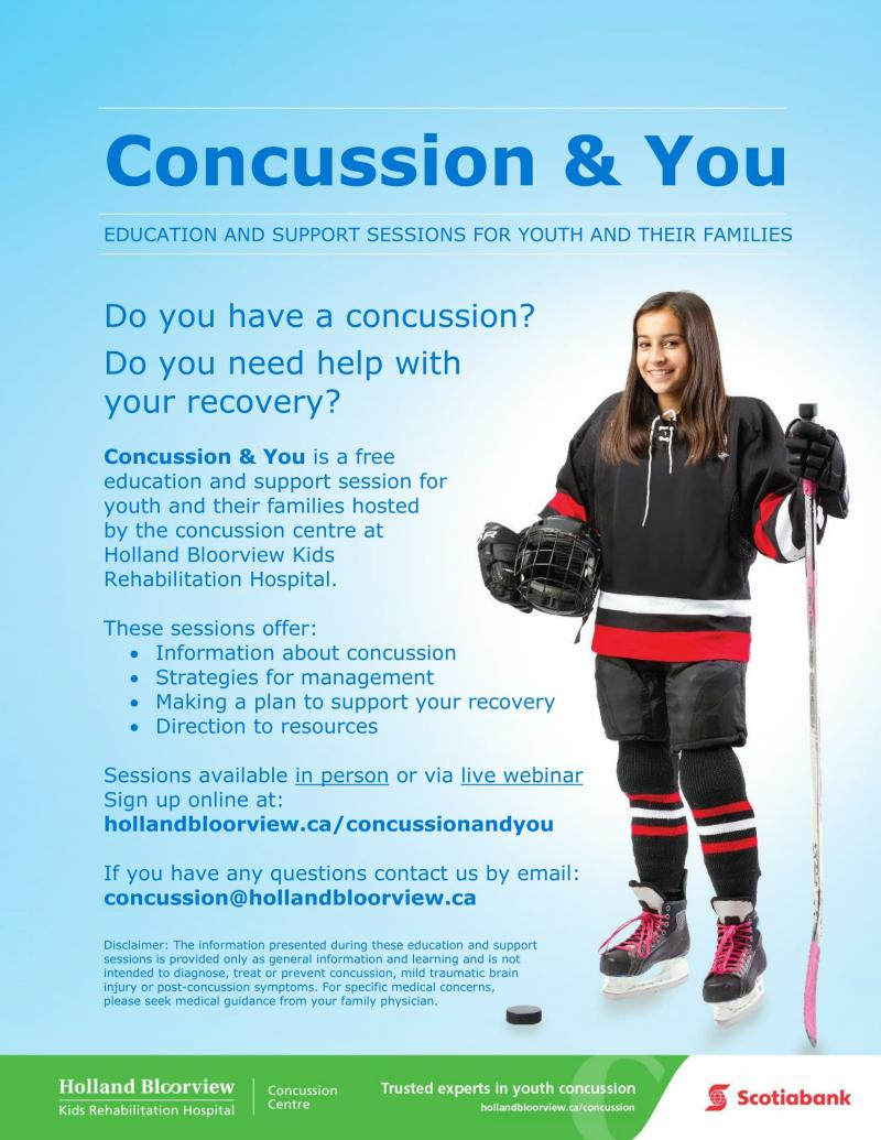 Poster for the Concussion and You sessions