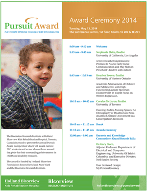 Pursuit Award 2014 award ceremony program