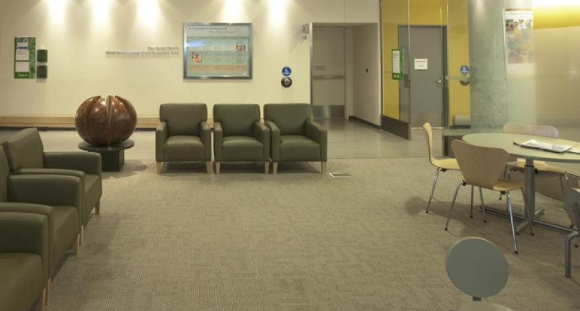 Relax in the waiting area until someone comes to get you