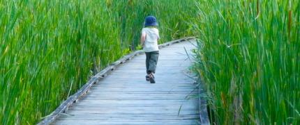 Boy running on wood boardwalk through grass