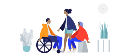 Colourful image of people chatting, 2 people sitting and one person standing