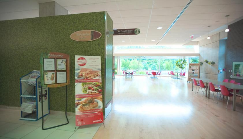 Garden Grill cafeteria service, features daily hot entrees, pizza, soups, and deli sandwiches
