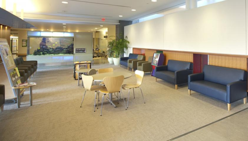 Child friendly reception area with comfortable seating