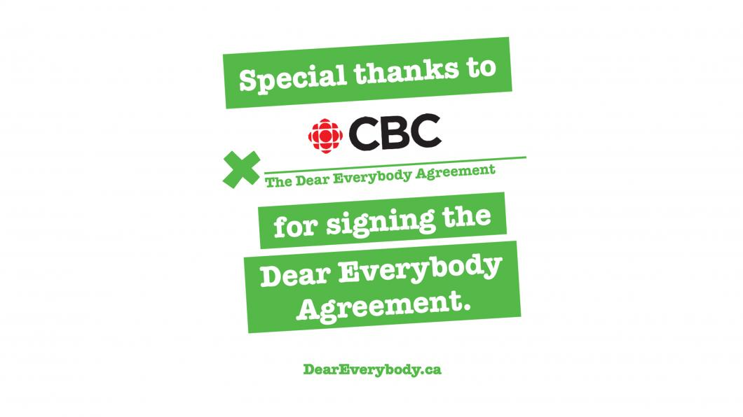 Dear Everybody signed by CBC